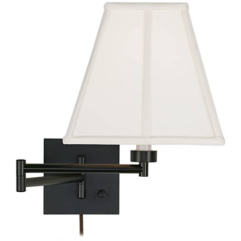 Square Wall Lamp Shades : Ivory Square Shade Espresso Plug-In Swing Arm Wall Lamp - #79412-23875 Lamps Plus
