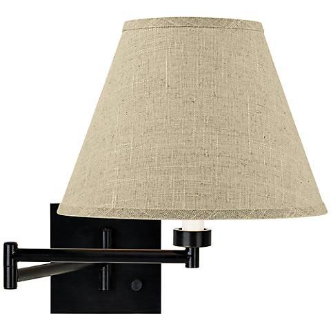Fine Burlap Empire Espresso Plug-In Swing Arm Wall Lamp