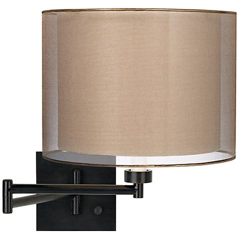 Sheer Bronze Drum Espresso Plug-In Swing Arm Wall Lamp