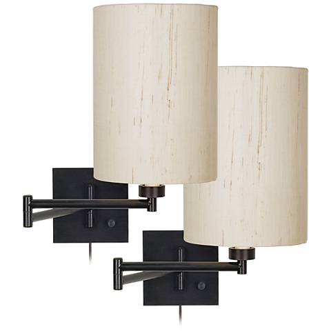 Set of 2 Espresso Bronze Cylinder Swing Arm Wall Lamps