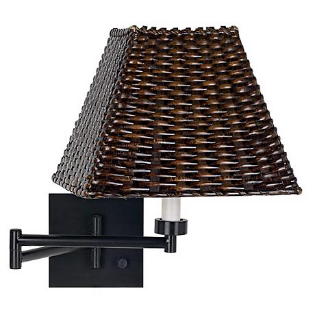 Swing Arm Wall Lamp Shades : Espresso with Wicker Square Shade Swing Arm Wall Lamp - #79412-U1248 Lamps Plus