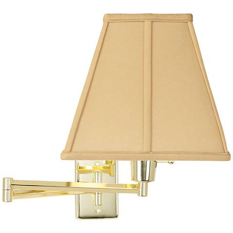 Beige Square Cut Shade Plug-In Style Swing Arm Wall Lamp