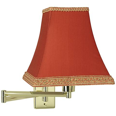 Brass with Rust Shade Plug-In Swing Arm Wall Lamp