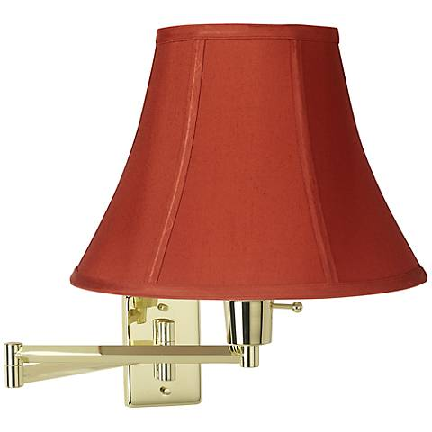 Brass With Red Cinnabar Shade Plug-In Swing Arm Wall Lamp