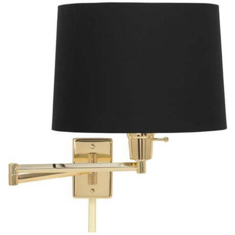 black fabric drum polished brass swing arm with cord cover 79553 88533 u2364 lamps plus. Black Bedroom Furniture Sets. Home Design Ideas