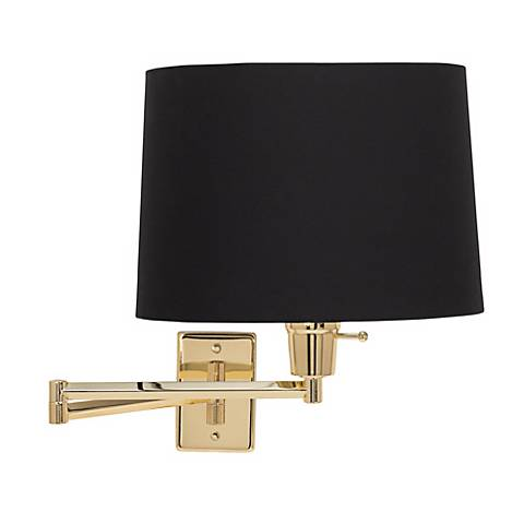 Brass with Black Drum Shade Plug-In Swing Arm Wall Lamp