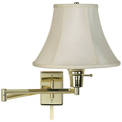 creme bell polished brass plug in swing arm with cord cover 79553 r2636 u2364 lamps plus. Black Bedroom Furniture Sets. Home Design Ideas