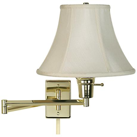 Plug In Wall Lamp With Cord Cover : Creme Bell Polished Brass Plug-In Swing Arm with Cord Cover - #79553-R2636-U2364 Lamps Plus