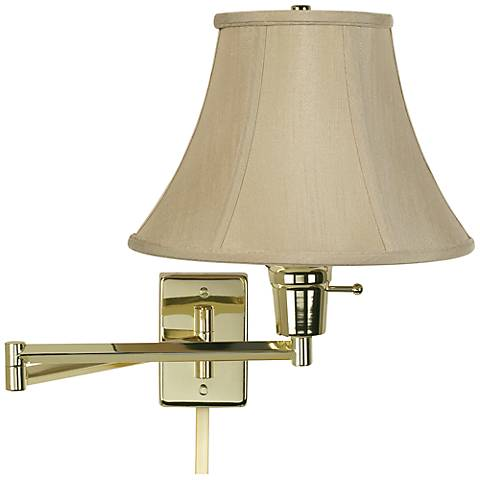 taupe bell polished brass plug in swing arm with cord cover 79553 r2684 u2364 lamps plus. Black Bedroom Furniture Sets. Home Design Ideas