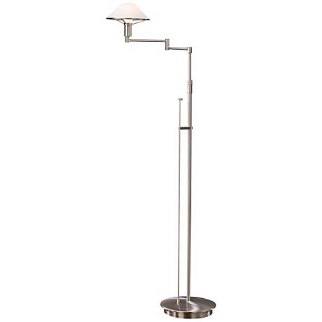 Satin Nickel with Satin White Glass Holtkoetter Floor Lamp