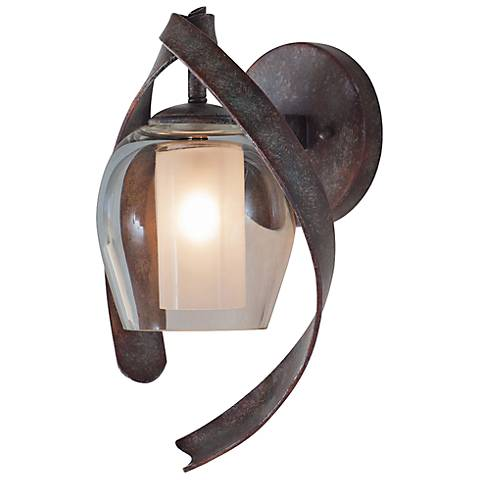 "Solana 13"" High Oxidized Copper Hand-Forged Wall Sconce"