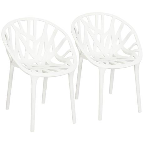 Cays Isle White Outdoor Accent Chairs Set of 2