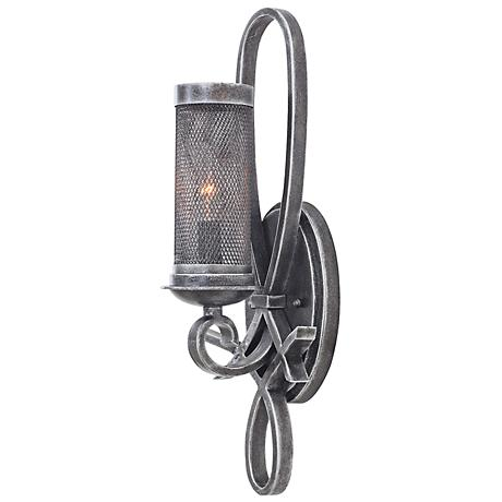"""Delancey 19"""" High Vintage Iron Mesh Wall Sconce"""