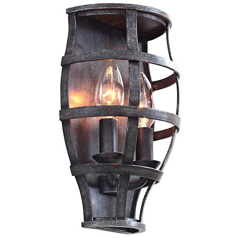 "Townsend 10 1/2"" High Vintage Iron Cage Wall Sconce"