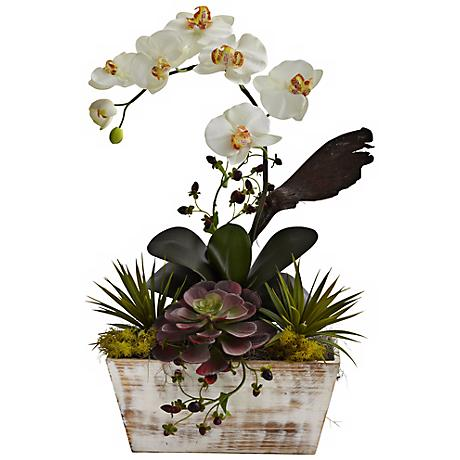 "White Orchid and Succulent 21""H Faux Plants in Whitewash Pot"