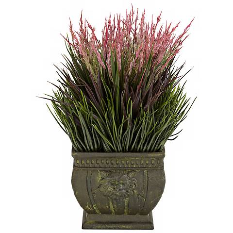 "Mixed Grass Indoor-Outdoor 13""H Faux Plant in a Roman Vase"