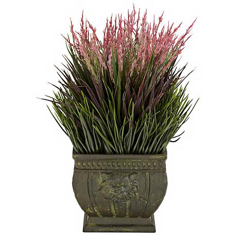 """Mixed Grass Indoor-Outdoor 13""""H Faux Plant in a Roman Vase"""