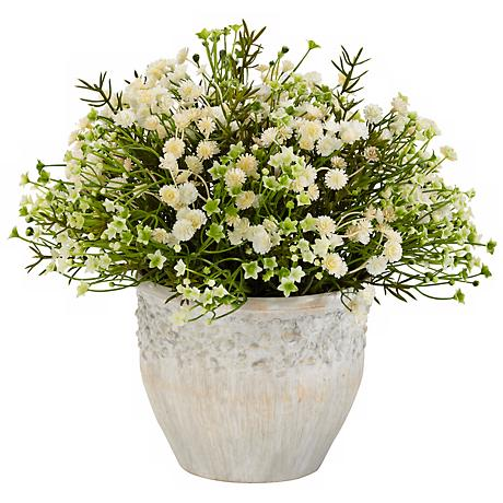 """Green Mini Daisy Indoor-Outdoor Potted 11"""" High Faux Plant"""