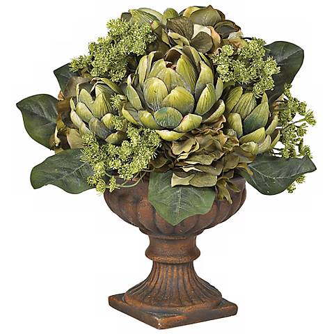 Ornate Artichoke Faux Floral Centerpiece Arrangement
