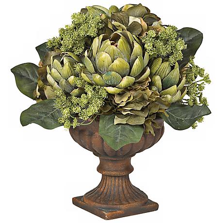 Ornate Artichoke Faux Floral Centerpiece Arrangement