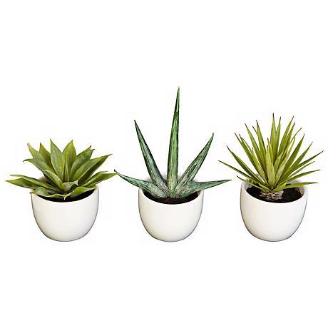 Southwest Mixed Succulent Faux Plants in Pots Set of 3