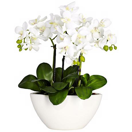 White Phalaenopsis Faux Floral Centerpiece in White Bowl