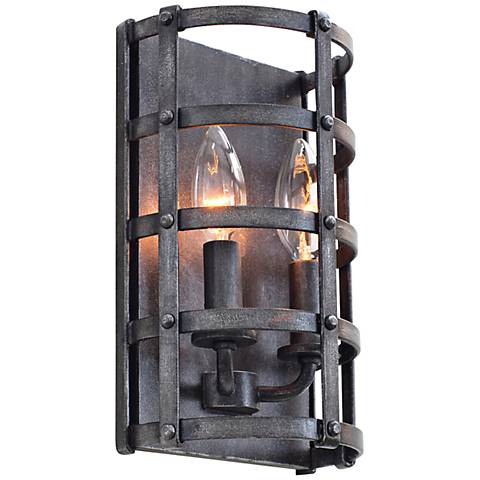 "Townsend 10 1/4"" High Vintage Iron 2-Light Wall Sconce"