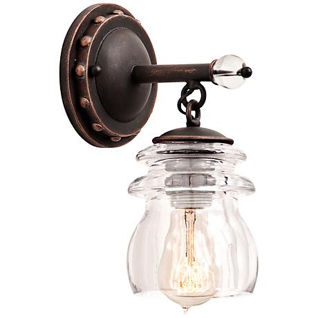 """Brierfield 10 1/4"""" High Antique Copper Wall Sconce"""