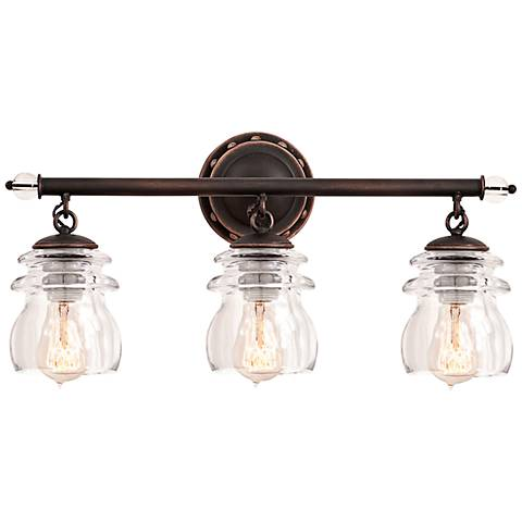 "Brierfield 21"" Wide Antique Copper 3-Light Bath Light"
