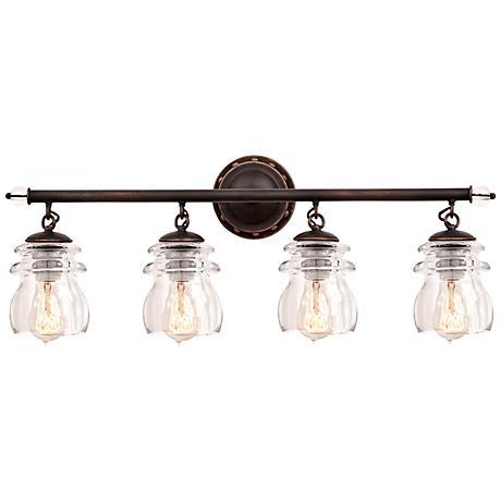 "Brierfield 28"" Wide Antique Copper 4-Light Bath Light"