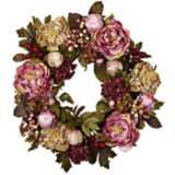 """Earth Tone Peony and Hydrangea 24"""" Wide Faux Floral Wreath"""