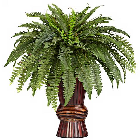 "Tall Boston 33""H Fern Faux Plant in a Colored Bamboo Vase"