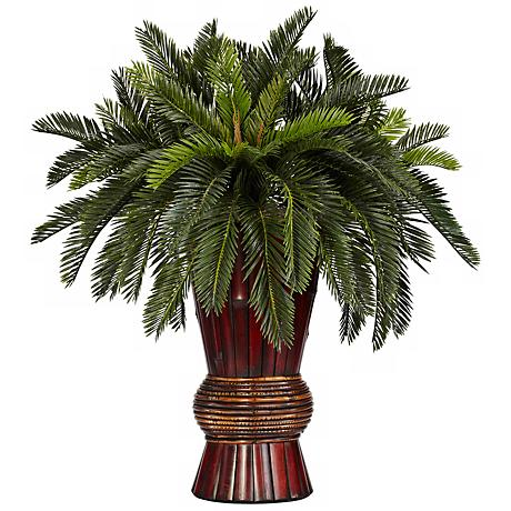 "Oriental Cycas Grass 29"" High Faux Plant in a Bamboo Vase"