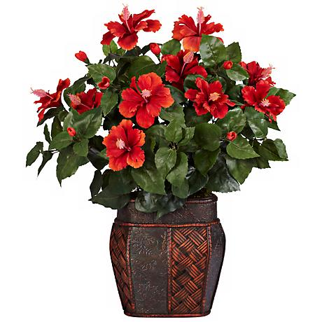 "Red Hibiscus Flowering 24""H Faux Plant in a Decorative Urn"