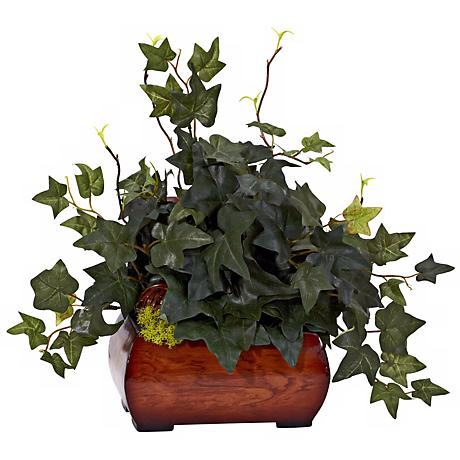 """Climbing Green Ivy 17""""W Faux Plant in a Treasure Chest Pot"""