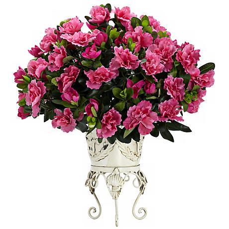 """Full-Bloom Pink Azalea 20"""" Wide Faux Plant in a Metal Urn"""