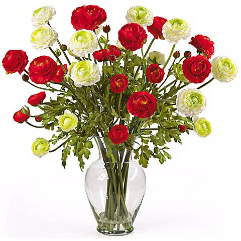"Red and White Ranunculus 24""W Faux Floral Bouquet in a Vase"