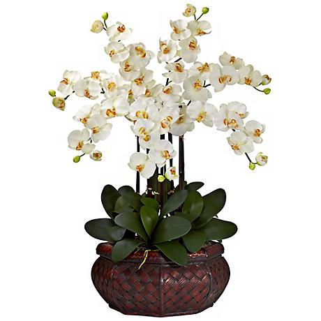 "Large Cream Phalaenopsis 30""H Faux Orchid in a Woven Basket"