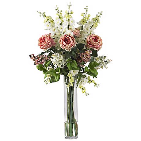 "Rose, Delphinium and Lilac Pink 38"" High Faux Floral Bouquet"