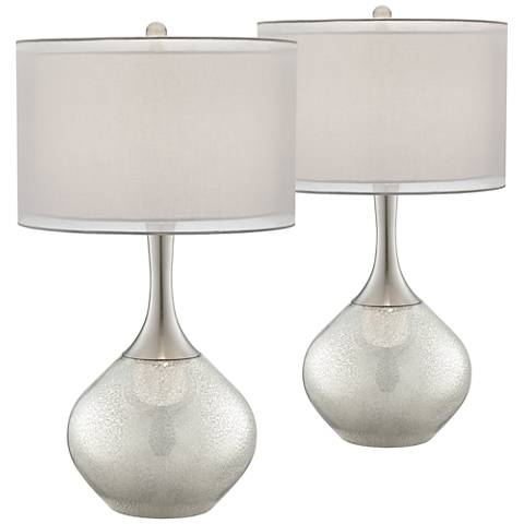 Possini Euro Design Swift Mercury Glass Table Lamp Set of 2