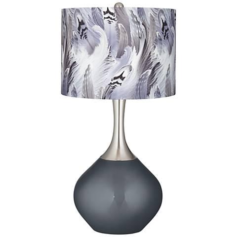 Gunmetal Metallic Feather Print Shade Spencer Table Lamp