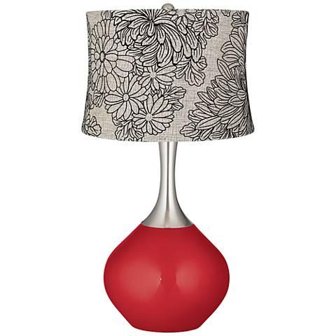 Sangria Metallic Velveteen Chrysanthemum Spencer Table Lamp