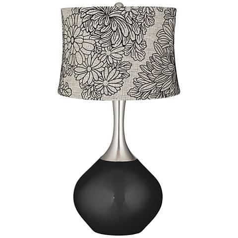 Caviar Metallic Velveteen Chrysanthemum Spencer Table Lamp
