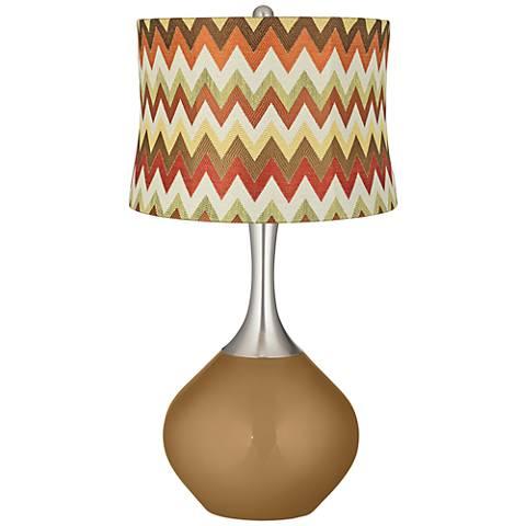 Light Bronze Metallic Red and Brown Chevron Shade Spencer Lamp