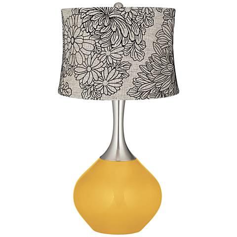 Goldenrod Velveteen Chrysanthemum Shade Spencer Table Lamp