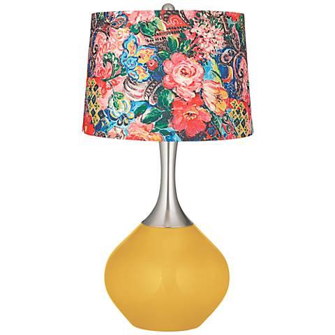 Goldenrod Floral Digital Print Shade Spencer Table Lamp