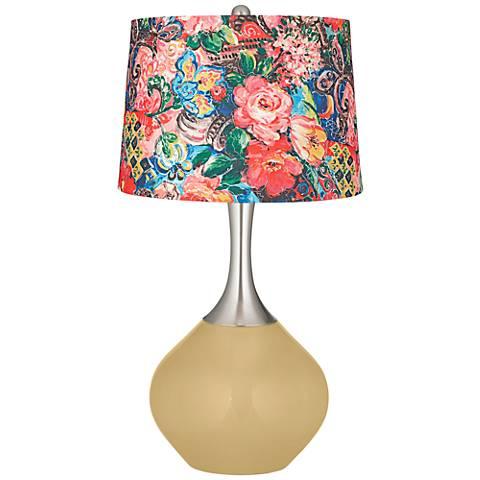 Humble Gold Floral Digital Print Shade Spencer Table Lamp