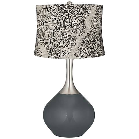 Black of Night Velveteen Chrysanthemum Spencer Table Lamp