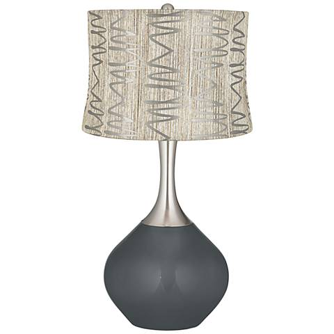 Black of Night Abstract Squiggles Shade Spencer Table Lamp