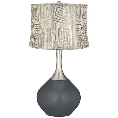 Black of Night Spiral Squiggles Shade Spencer Table Lamp